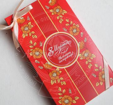Подарочные наборы в корпоративном стиле компании на 8 марта | Шоколад с логотипом и коньяком