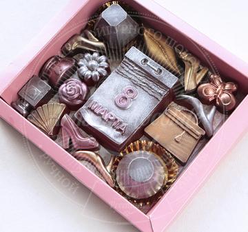 корпоративные подарки для женщин на 8 марта. персонализация упаковки. Шоколадный набор ВЕСЕННИЙ