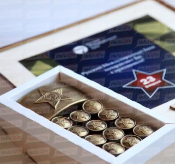 Армейский с алкоголем I корпоративные Кейсы с алкоголем  для мужчин на 23 февраля, персонализация упаковки. Доставка по России.