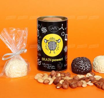 Корпоративные подарки на День медицинского работника 2019 | Упаковка: тубус 12,5x7,5 см., брендирование бесплатно.  Смесь орехов: миндаль, кешью, фундук 150 г.  Шоколадный мозг 60 г, из темного или белого шоколада  Barry Callebaut (Бельгия). При тираже от 100 штук возможно изготовление шоколадного мозга с начинкой пралине. | Креативные корпоративные подарки на праздники,  мероприятия и  конференции.