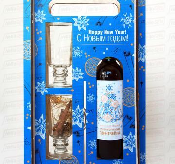 Глинтвейн в деревянном пенале с 2-мя бокалами | Подарки на Рождество и Новый 2016 год с логотипом для Ваших   коллег, партнеров и клиентов. Брендирование