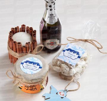 Корпоративные подарки с  алкоголем. мёдом, чаем и сладостями к новому году