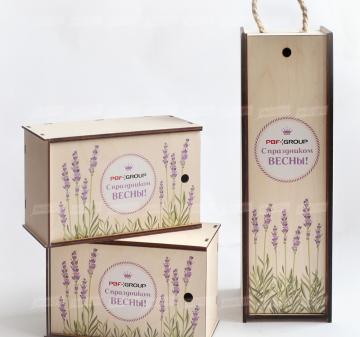 Упаковка для корпоративных подарков с логотипом. подарки корпоративным клиентам  Подарочная упаковка для вина и крепких напитков из дерева. Внутренний размер: 340х120х120мм.  Изготовим упаковку по вашему ТЗ Минимальный тираж – 30 шт.