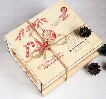 Посылочный ящик  из фанеры | продуктовые подарочные корзины в Москве Новогодние корпоративные  подарки с логотипом | Подарки коллегам и партнерам по бизнесу на 2017год | Съедобные вкусные оригинальные подарки  на заказ