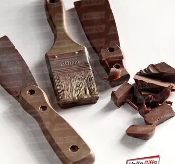 Подарки строителям. Шоколадные инструменты | Шпатель  и малярная кисть из шоколада. Инструменты из шоколада | № 4