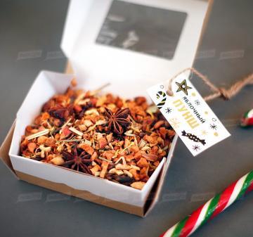 Новогодние корпоративные подарки оптом | - Смесь для выпечки имбирного печенья  на 10-12 средних печений. - Чай «Яблочный пунш» 70 г - Форма для печенья 1 шт. - Карамельная «Трость» | Подарки на Новый год корпоративным клиентам