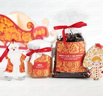 Сани деда Мороза в стиле золотая Хохлома | Ёлочные игрушки Дед Мороз и Снегурочка | Корпоративный подарок контрагентам  на Новый 2019  год. Подарки в русском стиле