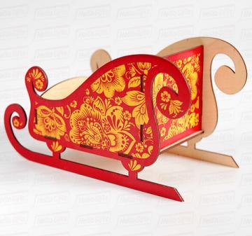 Оригинальная упаковка под подарки в стиле  золотая хохлома, сани Деда Мороза Корпоративные подарки к Новому году 2019 | ХОХЛОМА |