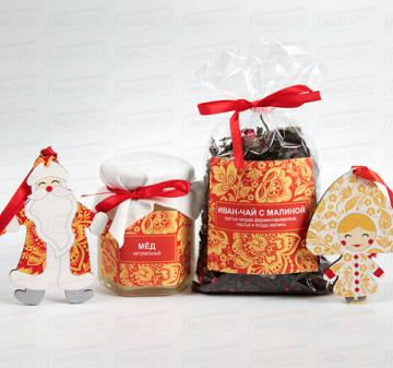 Сани деда Мороза в стиле золотая Хохлома | Ёлочные игрушки Дед Мороз и Снегурочка | Корпоративные подарки к Новому году 2019 | ХОХЛОМА |