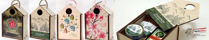 скворечник домик для птиц с логотипом компании и футляр для подарка  коллегам