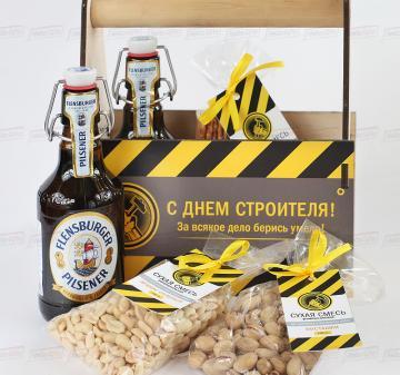 Подарочная упаковка на День строителя Ящик для пива с логотипом компании.