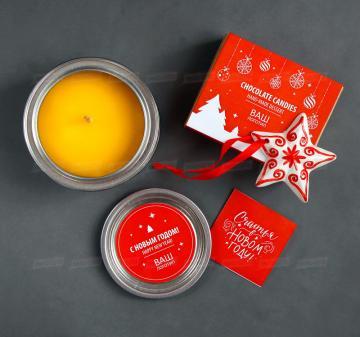 Новогодняя сувенирная продукция оптом Свечи из натурального пчелиного воска. Конфеты с алкоголем