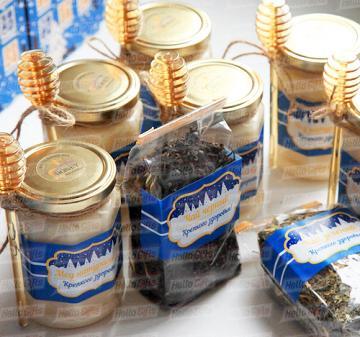 Корпоративные подарки на заказ  с мёдом и чаем