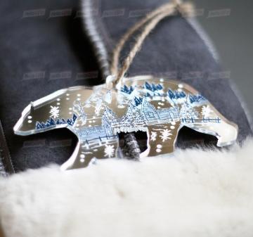 """- Зеркальная новогодняя ёлочная игрушка """"Медведь""""Оригинальные корпоративные подарки на Новый год"""