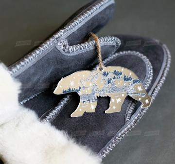 """Корпоративные подарки на Новый год - Варежки из овчины XL   мужские  - ёлочная игрушка """"Медведь"""""""
