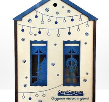 Упаковка из дерева в виде домика для подарков