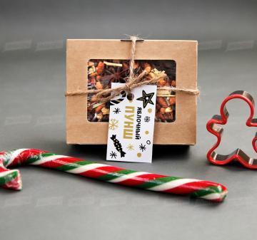 Корпоративные подарки на Новый год   - Смесь для выпечки имбирного печенья  на 10-12 средних печений. - Чай «Яблочный пунш» 70 г - Форма для печенья 1 шт. - Карамельная «Трость»   Подарки на Новый год корпоративным клиентам